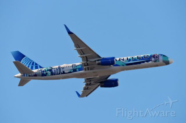 """Boeing 757-200 (N14102) - Minutes before landing we have the United """"Her Art Here - New York/New Jersey"""" livery, winter 2019."""