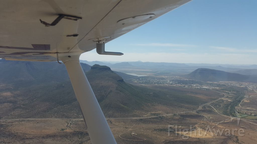 Cessna Skyhawk (ZS-SCE) - On approach to Graaff-Reinet airfield FARG after a flight from Cape Town to the Karoo desert