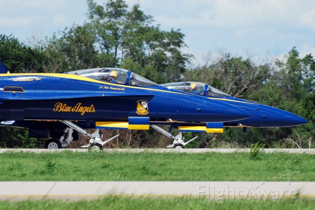 16-3106 — - McDonnell Douglas F/A-18A Hornet (c/n 0495/A409). June 27, 2010. Blue Angels #1 and #2 taxiing in formation.