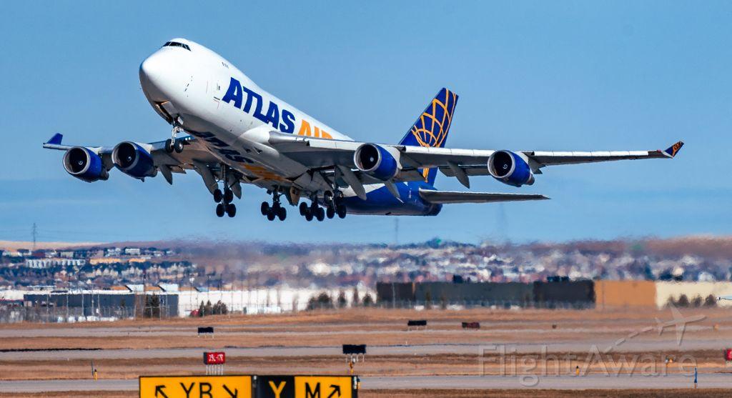 Boeing 747-400 (N409MC) - Atlas Air 747-400F departing Calgary for Seoul.