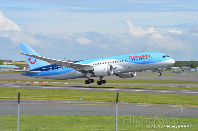 Boeing Dreamliner (Srs.8) (G-TUIA) - One of the two new Thomson 787s doing touch and goes at Prestwick