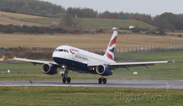 Airbus A319 (G-EUPG) - Arrival at ABZ on October 21st 2020. Photo taken from raised mound area nr Babcock terminal.