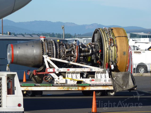 BOEING 767-300 (N334UP) - Engine to replace the one that eat a big bird.