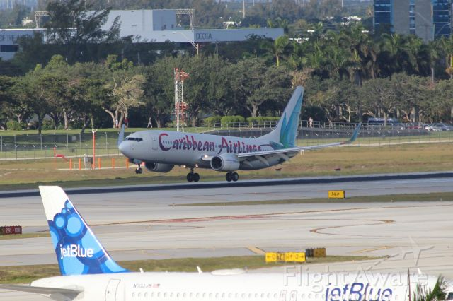 Boeing 737-800 (9Y-BGI) - Caribbean Airlines (BW) 9Y-BGI B737-8Q8 [cn28232]br /Fort Lauderdale (FLL). Caribbean Airlines flight BW31 touches down on Runway 09R on arrival from Kingston Norman Manley (KIN).br /Taken from Terminal 1 car park roof level br /2018 04 07br /a rel=nofollow href=http://alphayankee.smugmug.com/Airlines-and-Airliners-Portfolio/Airlines/AmericasAirlines/Caribbean-Airlines-BW/https://alphayankee.smugmug.com/Airlines-and-Airliners-Portfolio/Airlines/AmericasAirlines/Caribbean-Airlines-BW//a