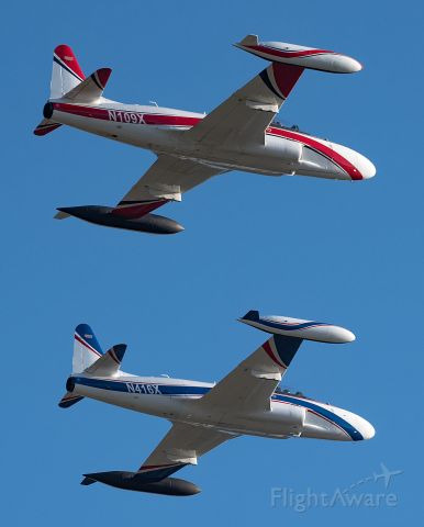 Lockheed T-33 Shooting Star (N109X) - T-33s flyby on their retirement ceremony.