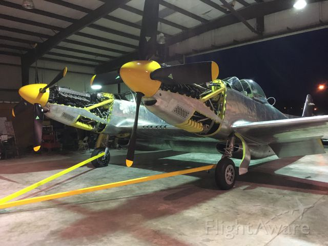 — — - Two BIG Merlin's waiting for their chance to fly again. Tom Reilly's NAA XP-82 Twin Mustang, July 2018