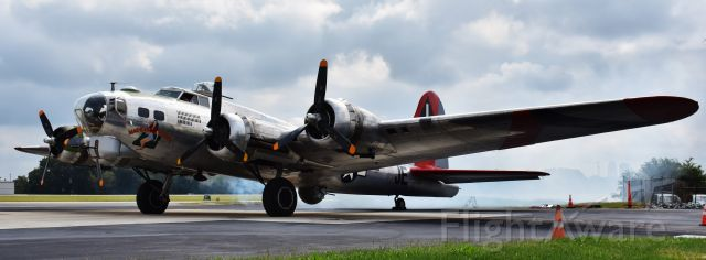 Boeing B-17 Flying Fortress (N3701G) - Another shot of the Madras Maiden on 10/6/18 at INT.  Smokin' lady!