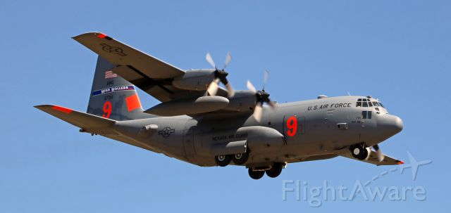 """Lockheed C-130 Hercules (93-7311) - A NevANG """"High Rollers"""" C-130H (93-7311) is snapped here as it is approaching Reno Tahoe International.  It was landing on runway 16L; side-by-side with a SW B737 that was passing right over my head as it was landing on 16R.  I did get a good click of both of them approaching next to each other, but naturally as they came over me they were too close for me to get them together in this pic."""