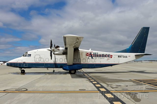 Short SD3-60 (N973AA) - N973AA (cn SH3749) parked on Pad-3, due to construction at Atlantic Aviation, 7 Apr 2017.
