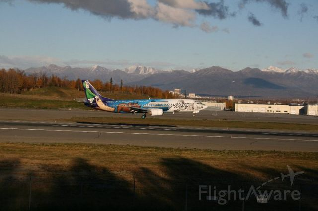 BOEING 737-400 (N705AS) - Rwy 14 arrival, in the last light of the day