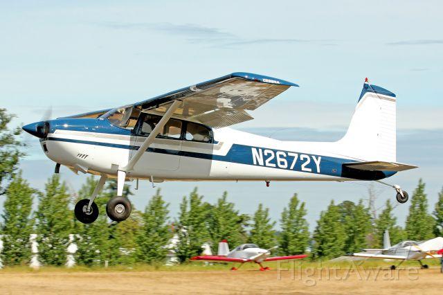 Cessna Skywagon 180 (N2672Y) - Departing Starks Twin Oaks 6-1-13