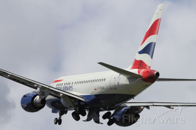 Airbus A318 (G-EUNA) - British Airways A318, departing Farnborough Air Show 2012, after being on static display.