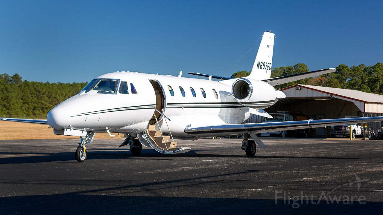 Cessna Citation Excel/XLS (N697EC) - On the ramp at KOCH for a factory visit.