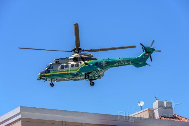"TUSAS Cougar (N951LB) - ""Air Rescue 5"" lifts off from Huntington Memorial Hospital."