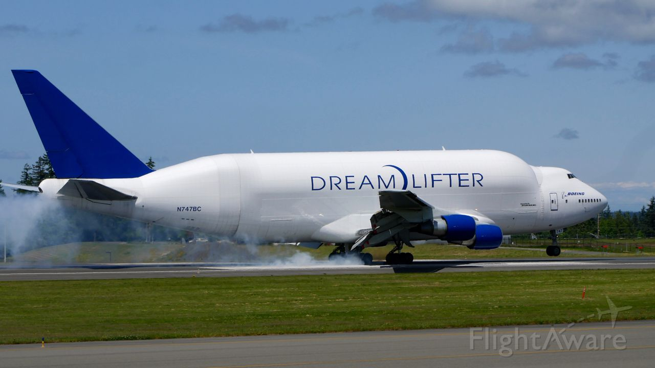 Boeing Dreamlifter (N747BC) - GTI4151 from NGO to PAE touches down on Rwy 34L on 6.3.20. (B747-4J6(BLCF) / ln 904 / cn 25879).