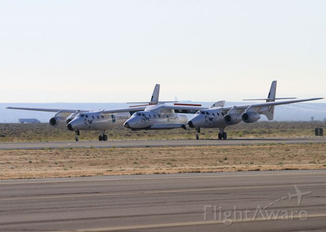 Scaled Composites White Knight 2 (N348MS) - White Knight Two and SpaceShipTwo on Thursday, June 9 after a failed drop/feather/glide test.  The spacecraft failed to release from the mothership.
