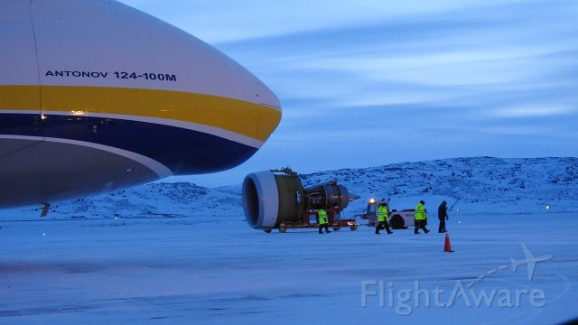 — — - Antonov AN124 nose as the new GE90 engine for Swiss LX40 AOG in Iqaluit gets towed