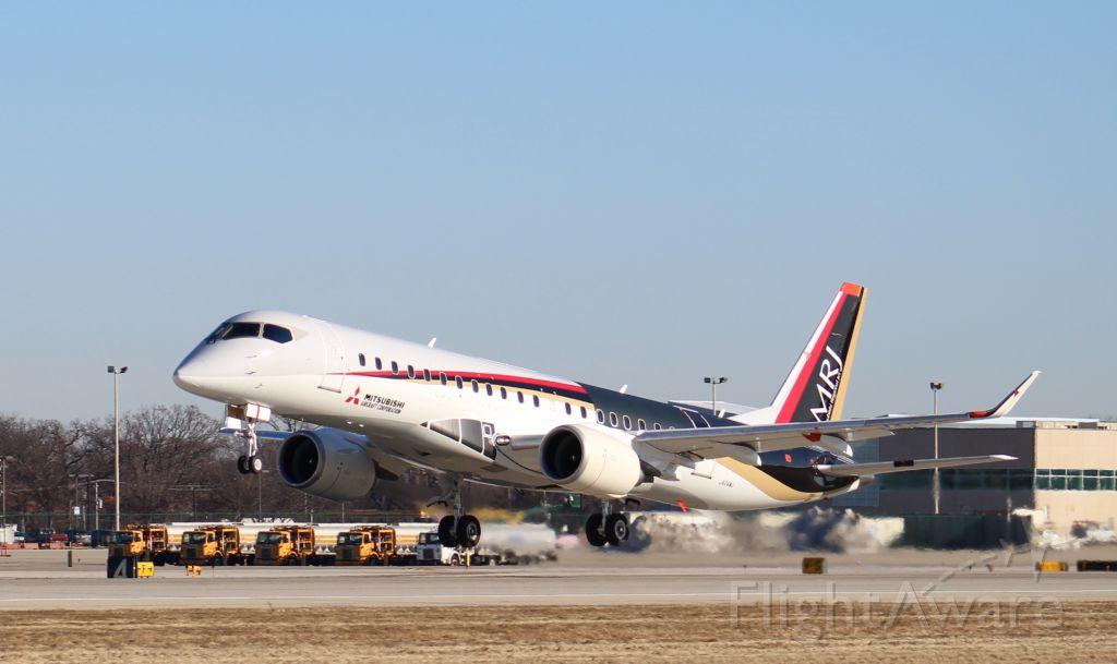JA24MJ — - Mitsubishi MRJ test aircraft JA24MJ departing KRFD on a test flight