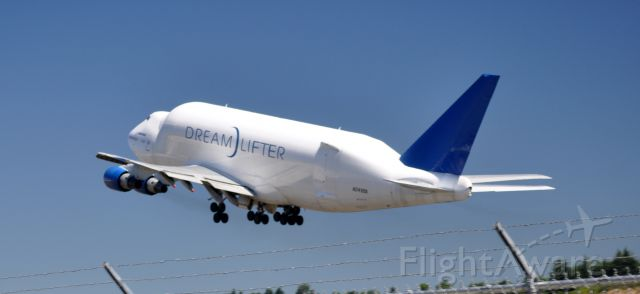 Boeing 747-200 (N2498A) - Liftoff to the North, from Boeing Field.