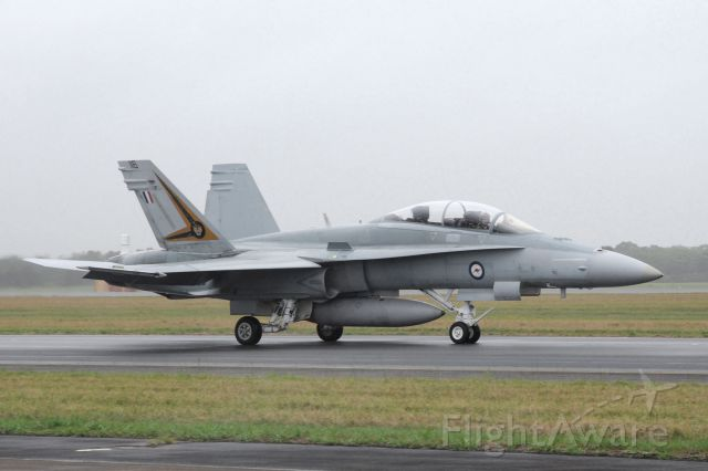 — — - This powerful small FA18 super Hornet of the RAAF seen here ready to take off from YBAF south of Brisbane