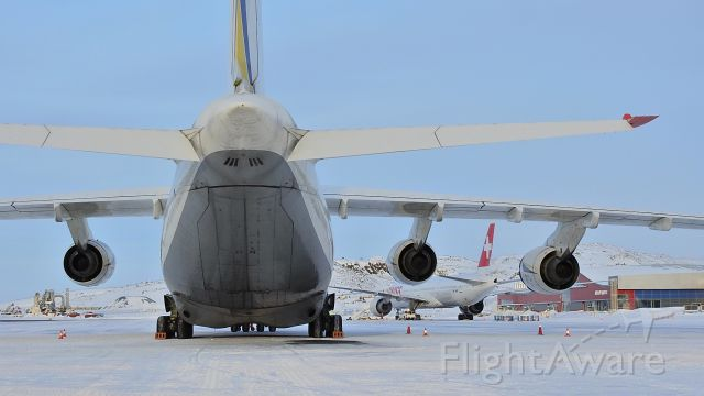 — — - Antonov AN124 and Swiss LX40 on the apron in Iqaluit Nunavut