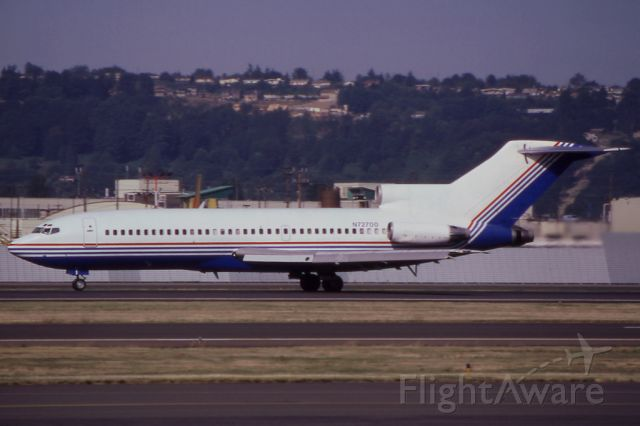"""N72700 — - Seen in the old company """"house"""" colors is this 727-30, seen in July of 1986. Aircraft was later used as a flying testbed for the GE Unducted Fan."""