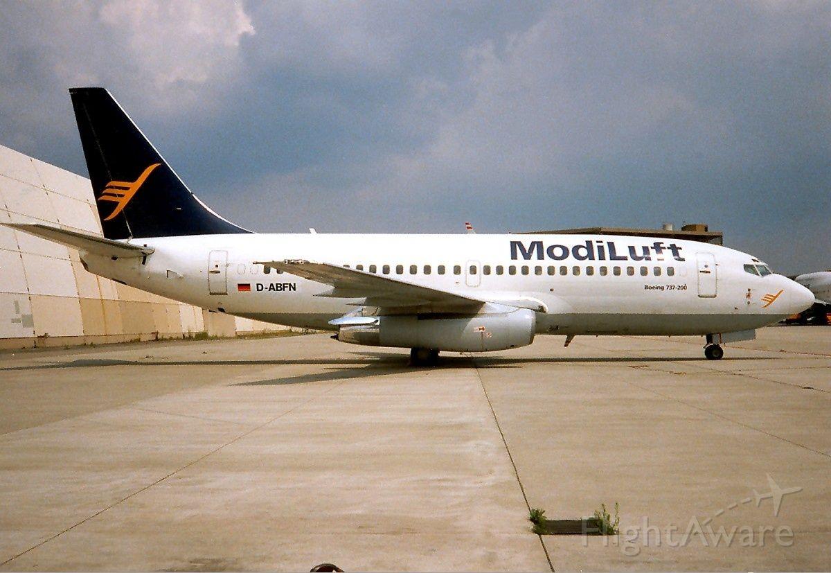 Boeing 737-200 (D-ABFN) - Historic image of ModiLuft airlines captured at India Gandhi International Airport, Delhi.