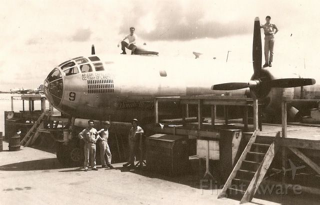 Boeing B-29 Superfortress — - Images from my father in law, Aircraft Commander Ben Nicks, who fle B-29s off Tinian Island in 1945. 35 Combat Missions. Knew Paul Tibbets personally - says he was real jerk but right for the job. Still alive at 95, and going on 65.