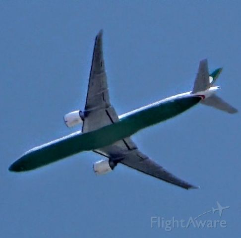 BOEING 777-300ER (B-16705) - Flying over Downtown L.A. before landing at LAX.