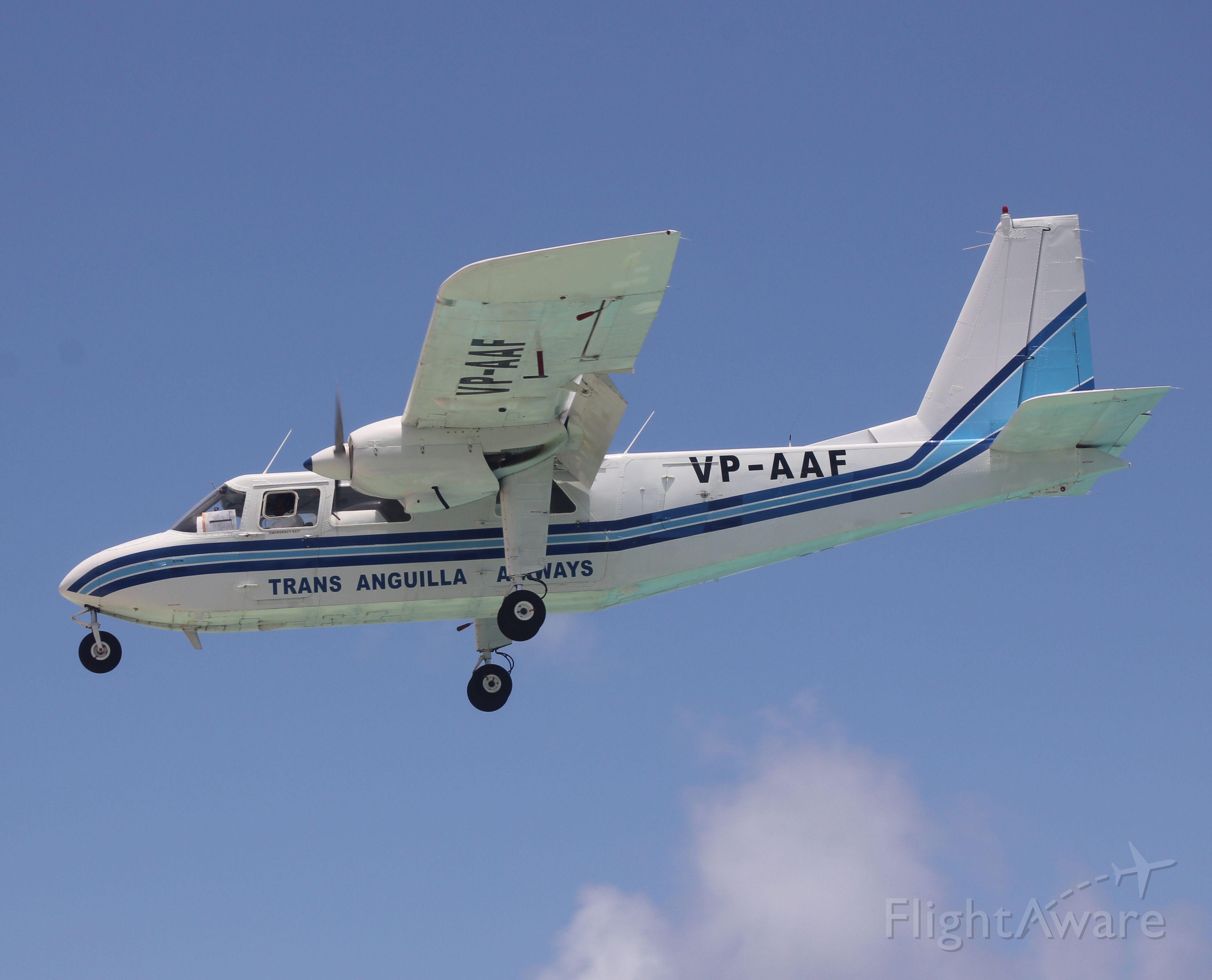 VP-AAF — - One perfect shot of a briten norman islander landing in Sint maarten