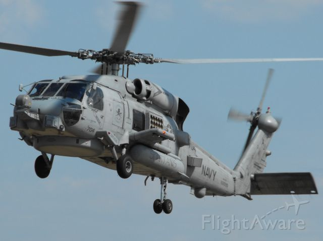 """Sikorsky S-70 (16-6595) - MH-60R with HSM70 landing on the pads in Tallahassee. The """"Spartans"""" call NAS Jax their home and come to Tally often."""