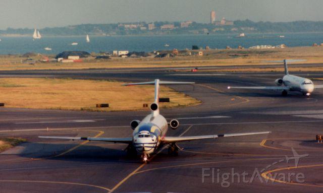 BOEING 727-200 (N64347) - From August 1997 - TWA B722 wearing St. Louis Rams Helmet arrives at Boston Logan.