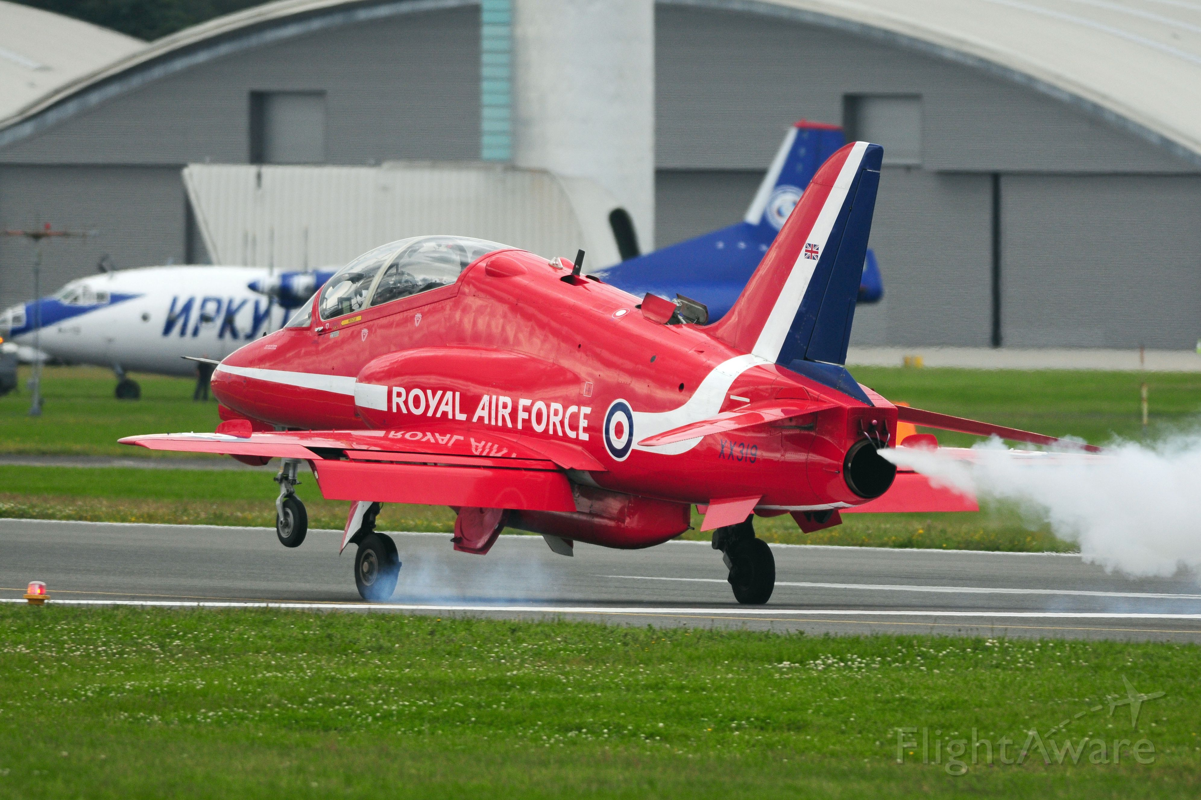 Boeing Goshawk (XX319) - 2012 Farnborough Airshow, Red Arrows Landing sequence,<br />Open RAT(Ram Air Turbine) door