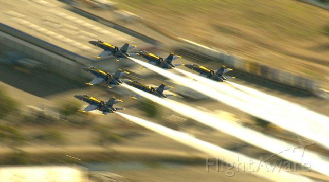 — — - Blue Angel flight over San Francisco