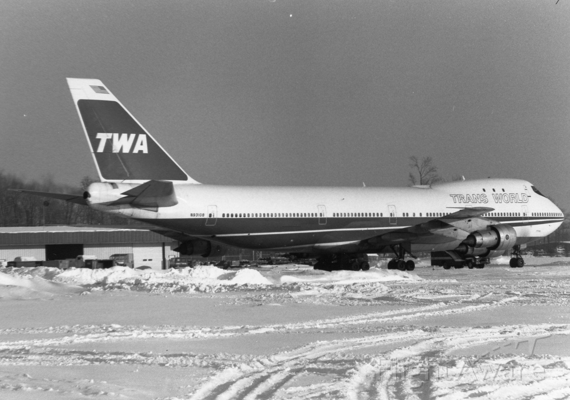 Boeing 747-200 (N93108) - A diversion to IND, most likely flight 771 from London to ORD.  Worth the trip out to the airport in the snow to see this rare late 1970s visitor!