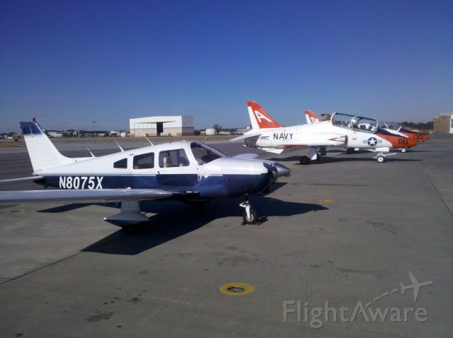 Piper Cherokee (N8075X) - Flight to Meridian, MS (KMEI) for soft-serve ice cream at the FBO and watch military hardware come and go.