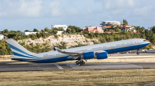Airbus A340-500 (VP-BMS) - Airbus A340-500 VP-BMS making it look so easy while landing at St Maarten.
