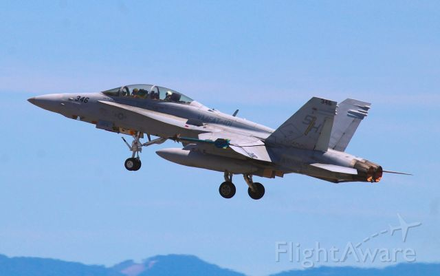 """16-4714 — - KRDD - Redding, CA USA US Marine Corp F/A 18 #164714 departing Redding for points south. This F/A -18 was part of the 4 ship fly-over set for the Red Bluff Rodeo 2017. 3 F/A-18s showed up at Redding a bit earlier than this photo. Then all 3 F/A-18s left, (this photo) and returned as a flight of 4 later in the day. Pilot is Maj W.M. Barrett """"Bildo"""" and back-seater is Capt. S.J. Belliveau """"The Clown"""". It was really great to see the VMFAT-101 """"Sharpshooters"""" in Redding this day!(G-man-help me here, I can"""