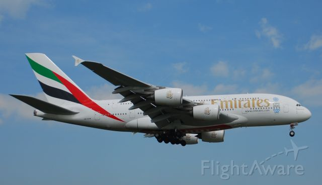 Airbus A380-800 (A6-EDW) - Taken from the threshold of 29L