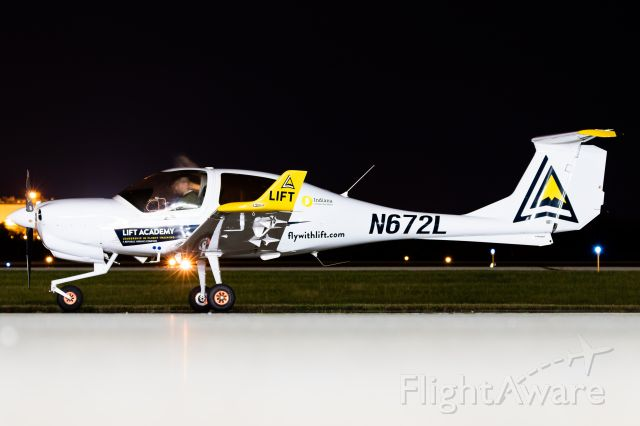 """Diamond Star (N762L) - One of LIFT's DA40NGs minutes after making a second emergency landing at Purdue. Pilot was a CFII who reported there was an ECU malfunction message, mechanics """"fixed"""" it, he took off again tonight and passing through 400ft encountered the same message. Both times he was met with emergency vehicles. Props to him for handling the emergencies well!"""