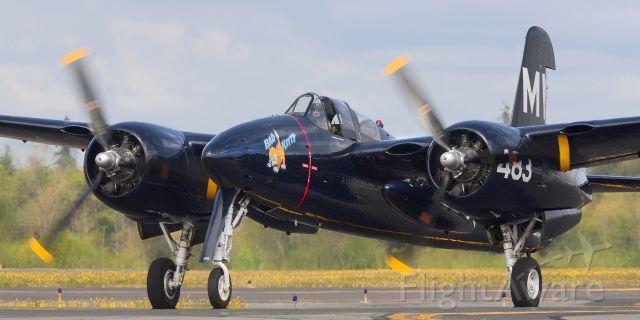 — — - Historic Flight Foundations Grumman F7-F Tigercat on Kilo 7, Paine Field, Everett, Wa.
