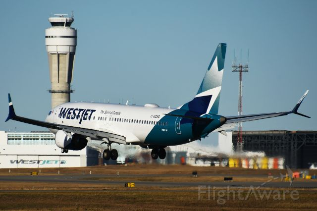 Boeing 737 MAX 8 (C-GZSG) - Westjet 737 MAX8 arriving at YYC on Oct 27.