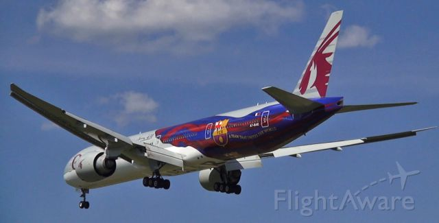 Boeing 777-200 (A7-BAE) - FC Barcelona livery on this Qatar Airways 77W on final at Dulles!