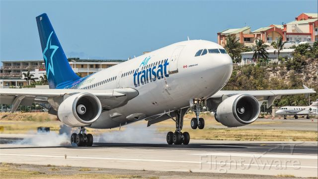 Airbus A310 (C-GFAT) - AirTransat smoking them at landing on St Maarten.