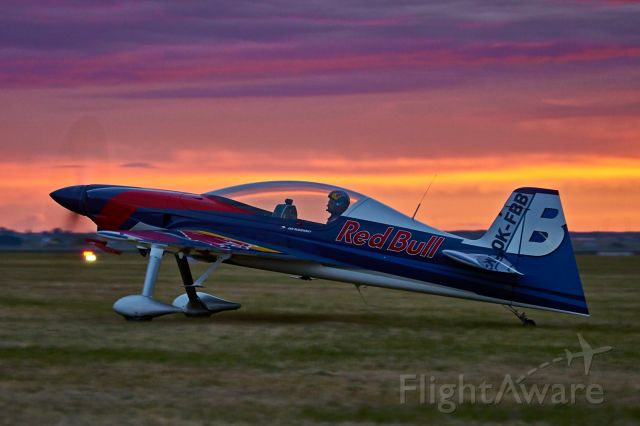 """REINSDORF 325 (OK-FBB) - This XA42 was one of the participants of  """"Antidotum Air Show"""" (eng: Antidote Air Show) - one of handful of airshows that took place in Europe this year. The plane belongs to Flying Bulls aerobatic team.<br />The picture was taken during stunning sunset."""