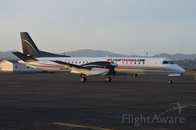 Saab 2000 (N814BB) - Taxiing to the Corvallis (KCVO/CVO) ramp after arriving from San Jose (KSJC/SJC).