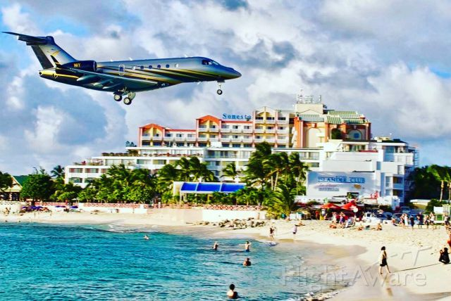 Embraer Legacy 550 (N1Y) - Our 1st Legacy 500 Landing in San Maarten to impress with its Aggressive Paint Scheme.