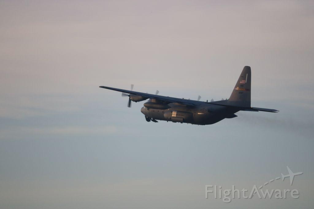 Lockheed C-130 Hercules (61007) - Following 61003 on a sunset takeoff