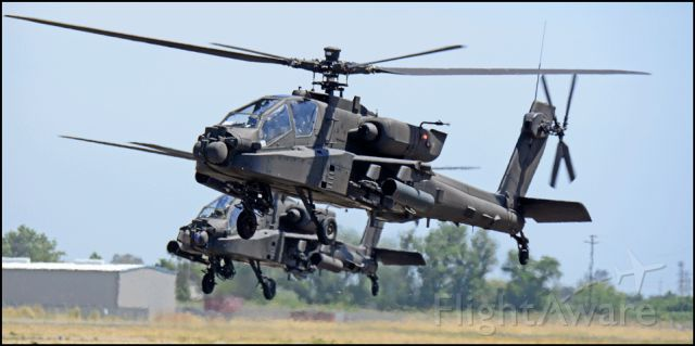 — — - Army AH-64 arriving at the Merced Regional Airport