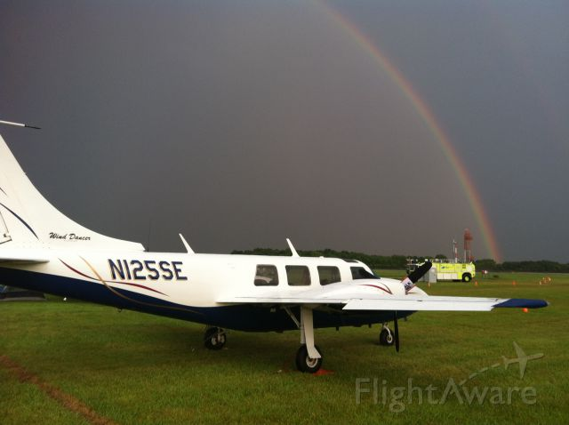"Piper Aerostar (N125SE) - Rainbow over ""Wind Dancer"" Air Venture 2014"